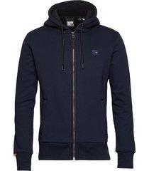trekker fleece zip hood hoodie trui blauw superdry