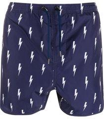 neil barrett all-over print swim shorts - blue