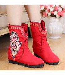 stivali ricamati del panno del fiore di vecchio stile cinese di pechino per le donne