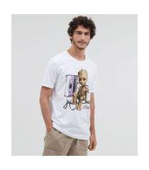 camiseta manga curta estampa groot | avengers | branco | pp