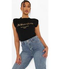 mouwloos ye saint love shirt, black