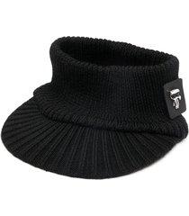 karl lagerfeld logo patch knitted visor - black