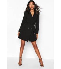 tall blazer jurk met ceintuur, zwart