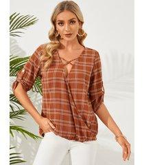 blusa con mangas 3/4 de diseño cruzado a cuadros caqui de yoins
