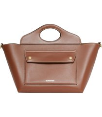 burberry mini cabas pocket leather tote - brown