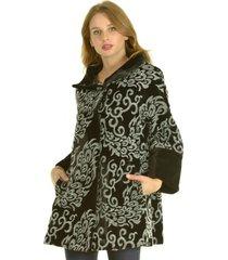 abrigo bordado gris bou's