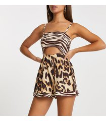 river island womens beige animal bandeau tie bow back playsuit