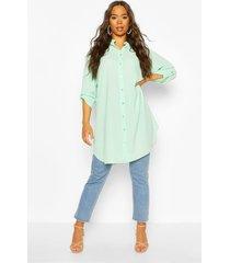 woven long line shirt, mint