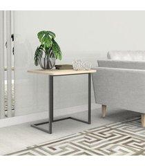 mesa lateral 45 cm preto madeirado claro mdf lilies móveis