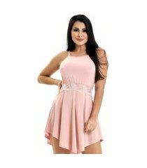 camisola microfibra renda luxo sensual vestido rosê