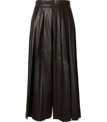 goen.j faux leather pleated wide-leg trousers - brown