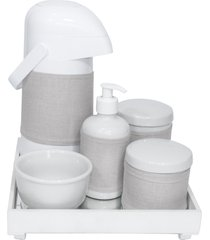 kit higiene espelho completo porcelanas, garrafa e capa branco quarto beb㪠 - bege - dafiti