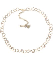 """lonna & lilly gold-tone bead-accent linked heart collar necklace, 16"""" + 3"""" extender"""