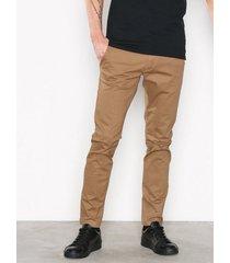 selected homme slhstraight-paris camel pants w noo byxor ljus brun