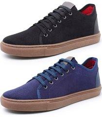 kit 2 sapatenis sandalo levit preto e azul