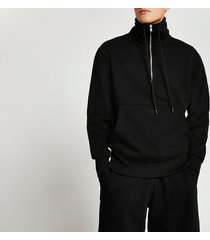 river island mens black long sleeve funnel neck sweatshirt