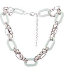 colar curto resinado armazem rr bijoux correntes verde claro prata - feminino