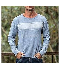 men's cotton sweater, 'sea blues' (guatemala)