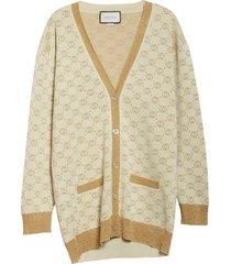 women's gucci interlocking-g metallic jacquard wool blend cardigan
