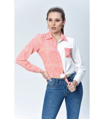 camisa dama rosado y blanco di bello jeans  classic blouse ref b214