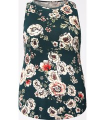 maurices plus size womens 24/7 floral high neck tank top green