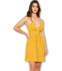 ax paris women's mustard knot front skater dress