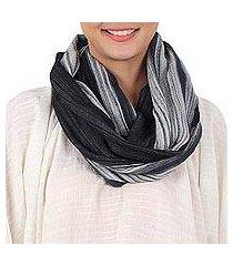 cotton infinity scarf, 'smoke' (thailand)