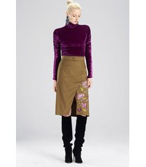 stretch twill skirt, women's, green, size 6, josie natori