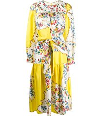 tory burch quilted floral yoke dress - yellow
