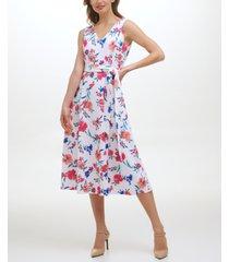 calvin klein floral-print belted fit & flare midi dress