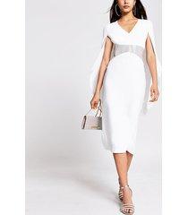 river island womens white diamante waist cape detail midi dress