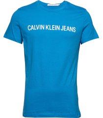 institutional slim logo tee t-shirts short-sleeved blå calvin klein jeans