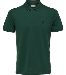 selected homme heren poloshirt donker stretch pique slim fit