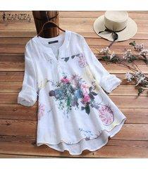 zanzea para mujer de manga larga con cuello en v floral tapas flojas de las señoras de la blusa del botón camisas más del tamaño -blanco