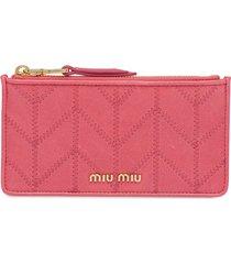 miu miu embroidered pattern wallet - pink