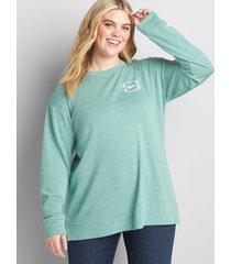 lane bryant women's game day graphic sweatshirt 10/12 evergreen
