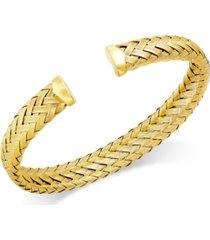 italian gold woven cuff bracelet in 14k gold over sterling silver