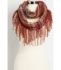 maurices womens berry plaid fringe trim infinity scarf red