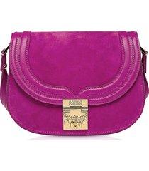 mcm designer handbags, trisha viva lilac suede and leather small shoulder bag