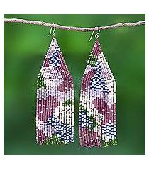 beaded waterfall earrings, 'amazing waterfall in purple' (thailand)