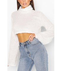 fluffy knit high neck sweater, ivory