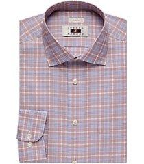 joseph abboud blue & rust windowpane plaid dress shirt