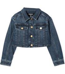 balmain blue stretch-cotton jacket