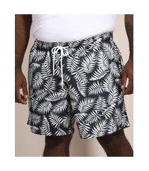 short masculino plus size relaxed estampado de folhagem com cordão e bolsos azul marinho