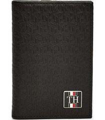 tommy hilfiger men's cube monogram card holder black/navy -