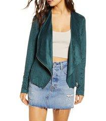women's blanknyc drape front faux suede jacket, size x-small - green