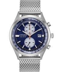 citizen eco-drive men's chronograph chandler stainless steel mesh bracelet watch 43mm