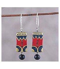 ceramic dangle earrings, 'bollywood sonata' (india)