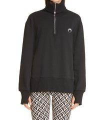 marine serre optic moon high neck sweatshirt, size x-small - black