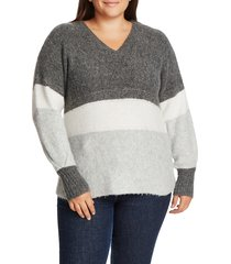 plus size women's 1.state stripe v-neck tunic sweater